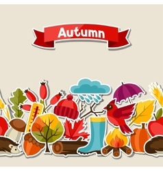 Seamless pattern with autumn sticker icons vector