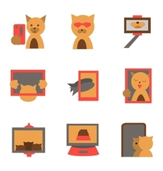 Selfie fashion flat icons vector