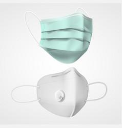 set isolated 3d respiratory mask respirator vector image