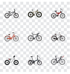 Set of realistic symbols with triathlon bike ol vector