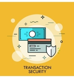 shield credit card and banknote transaction vector image