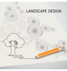Silhouette tree garden plan pencil and words vector