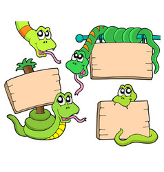 Snakes with wooden signs vector