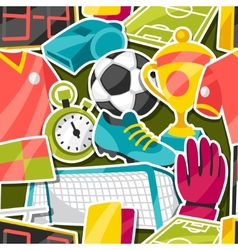 Sports seamless pattern with soccer sticker vector image