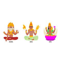 statues indian gods set brahma indra soma vector image