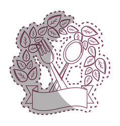 Sticker fork and spoon kitchen tools with leaves vector