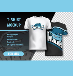 t-shirt mockup with sharks phrase in two colors vector image