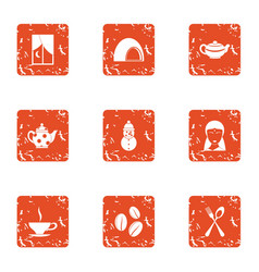 Tea vesper icons set grunge style vector