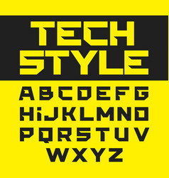 Tech style brutal font vector