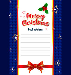 template for letters with best wishes for vector image