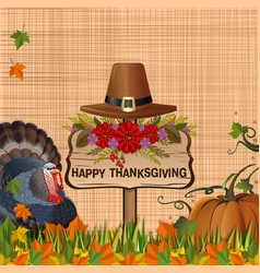 Thanksgiving background with turkey and pumpkin vector