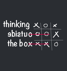 think outside box concept with tic tac toe vector image