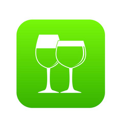two glasses of wine icon digital green vector image