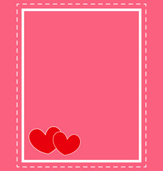Valentine card frame with red hearts design templa vector