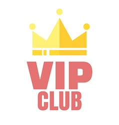 Vip club logo in flat style members only banner vector