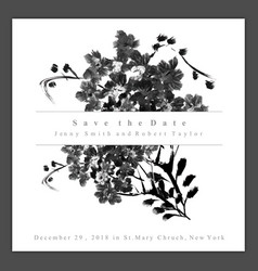 watercolor black and white floral wedding vector image