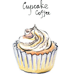 Watercolor cupcake coffee vector