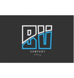 White blue alphabet letter bv b v logo icon design vector