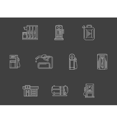White line filling station icons collection vector image