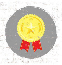Winner medal with golden star icon with screen vector