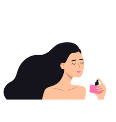 woman holding a bottle perfume in her hand vector image