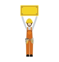 Worker with toolkit and plaque up vector