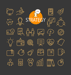 Different business strategy icons collection web vector