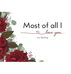 Floral card design with garden red rose flower vector