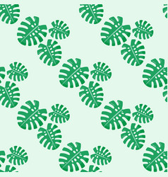 monstera leaves seamless pattern vector image