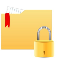 Security concept with file folder and padlock vector image vector image