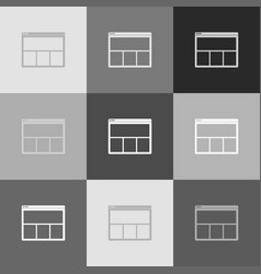web window sign grayscale version of vector image vector image
