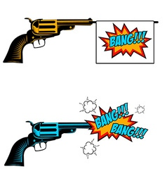 Bang bang Toy revolver with flag Pop art style vector image
