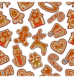 Christmas new year gingerbread seamless pattern vector