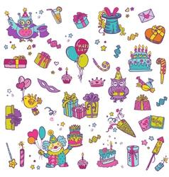 Hand drawn Birthday Celebration Design Elements vector image