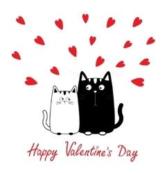 Happy Valentines Day Cute cartoon black white cat vector image vector image