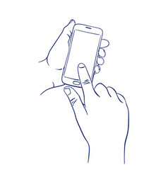 mobile smart phone touch screen with finger vector image