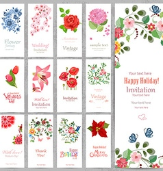 Romantic collection vertical invitation cards with vector image vector image