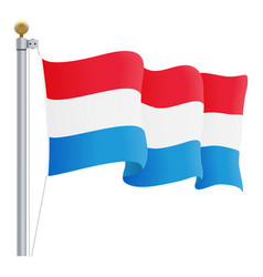 waving luxembourg flag isolated on a white vector image vector image