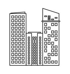 building architecture modern skyscraper outline vector image