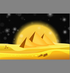 cartoon egyptian pyramids in the desert with vector image vector image