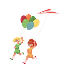 Two teenage girl friends running together with vector