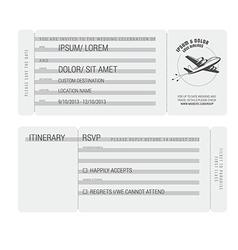 Vintage boarding pass stylized wedding invitation vector