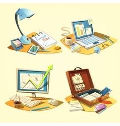Business retro set vector image