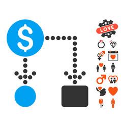 cashflow icon with love bonus vector image vector image