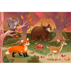 Funny animals in the wood vector image vector image
