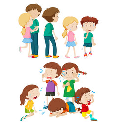 kids in different emotions vector image vector image