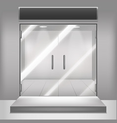 realistic detailed 3d glass transparent doors vector image vector image