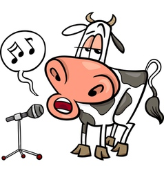 singing cow cartoon vector image