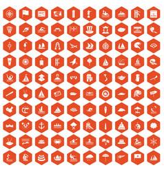 100 sailing vessel icons hexagon orange vector