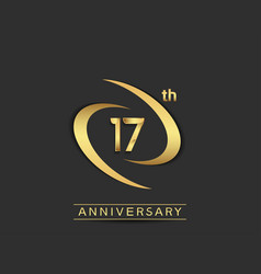 17 years anniversary logo style with swoosh ring vector